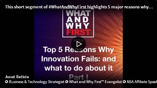 Top Five Reasons Why Innovation Fails and What to do About it - Part I